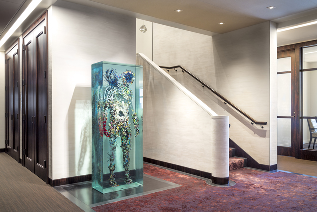 investment firm lobby stair glass art aculpture