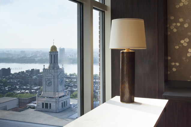 investment firm conference room city window lamp