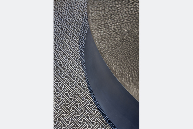 metal coffee table patterned rug