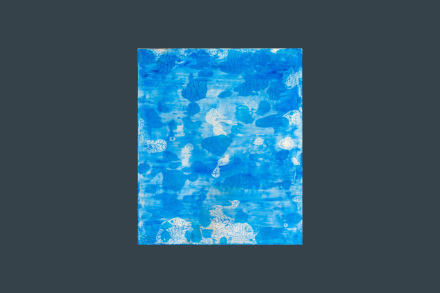 blue and white coral painting