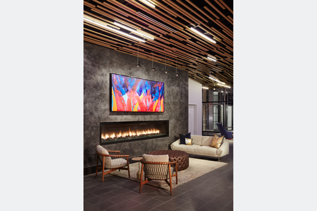 residential lobby fireplace wood ceiling