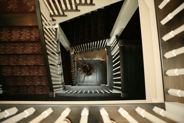 wood spiral stairs with custom carpet looking down three floors